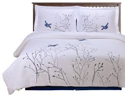 swallow 3 piece embroidered cotton duvet set blue full queen contemporary