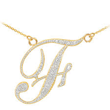 diamond letter f pendant necklace in solid 9ct yellow gold