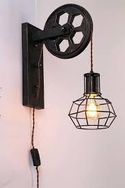 wall lamp with cord plug in industrial cage wall sconce vintage wall light fixture industrial retro