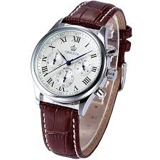 mens watches casual quartz watches leather strap og roman numerals coffee