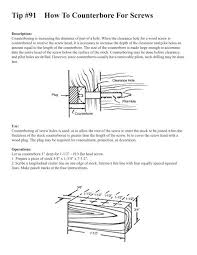 Tip 91 How To Counterbore For Screws Shopsmiths Woodshop
