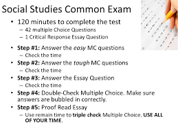 social studies common exam minutes to complete the test  1 social studies