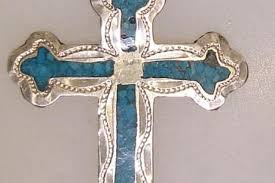 vintage mexico sterling silver turquoise inlay cross pendant federal coin exchange