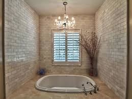 contemporary bath area with hanging chandelier