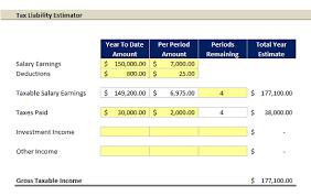 Excel Template Tax Liability Estimator