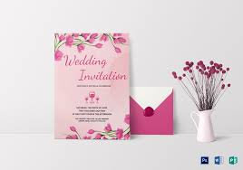 Pink Floral Wedding Invitation Card Template