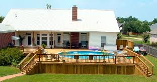 above ground pool with deck surround. Above Ground Round Pool - Love How The Deck Surrounds It Entirely And Is Continuous With Surround