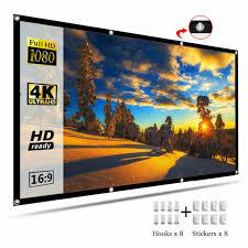 "<b>100</b>"" & 120'' <b>Portable Foldable Projector</b> Screen 16:9 HD Home ..."