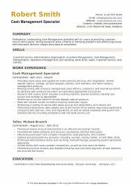 Cash Management Specialist Resume Samples | Qwikresume