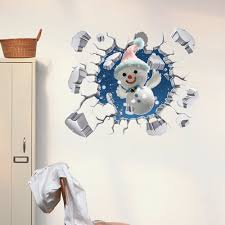 pag 3d snowman snowflake sticker wall decals home 3d wall hole decor gift