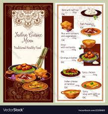 Indian Cuisine Restaurant Menu Template Design Vector Image