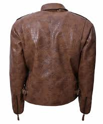 alligator brown biker jacket