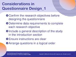 Considerations When Designing A Questionnaire Ppt 7 Designing The Questionnaire Powerpoint