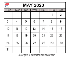 Calendar May 2020 May 2020 Printable Calendar Template