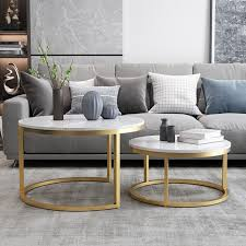 Preferred glass gold coffee tables within coffee tables : Nordic Style Coffee Table Gold Metal White Marble Living Room Accent Table With Round Top Set Of 2 Coffee Tables Living Room Furniture Furniture