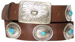 mexican 2 natural leather belt silver plated buckle embellished with turquoise