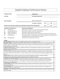 Employee Comments On Performance Evaluation Sample Employee Performance Reviewemployee Name Department