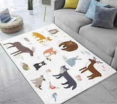 Area Rugs Forest Animals Cartoon <b>Bear</b> Deer <b>Rabbit Fox Cute</b>