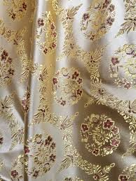 Floral Brocade Nadia Gold Floral Brocade Chinese Satin Fabric By The Yard 10094