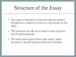 the structure of the essay explanation of paragraphs  structure of the essay the essay is intended to work through the author s thoughts on a