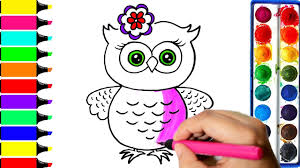 Owl Coloring Pages Art Colors For Kids Draw Owl With Flower