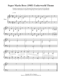 Music Spreadsheet Mario Piano Sheet Music Underworld Theme