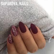 burgundy matte sti nails with glitter