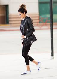 christine andrew keeps it casual in this outfit consisting of a leather jacket cropped leggings