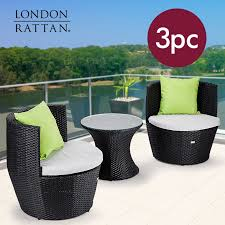 3 piece seats and side table set by london rattan