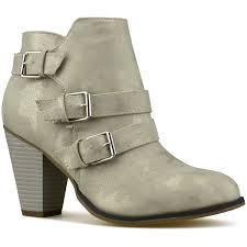 com premier standard women s buckle strap block heel ankle booties ankle bootie