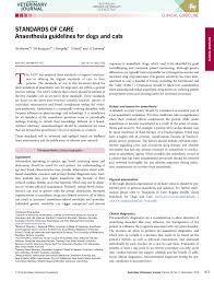 Veterinary Anesthesia Monitoring Chart Pdf Standards Of Care Anaesthesia Guidelines For Dogs And Cats