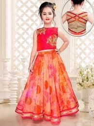 Indian Baby Girl Lehenga Designs Orange Kota Silk Designer Choli Suit Dresses Kids Girl