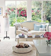 Perfect Living Room: Beautiful Vintage Living Room With Wide Glass Window Facing  Cute Blue Sofa Images