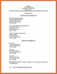 Professional References Example Job Reference List Sample Personal