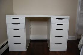classic broken white makeup vanity with three drawers and dark white desk with drawers