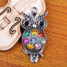 details about 5pcs 48mm charms owl pendant colourful rhinestone set silver diy jewelry a7385