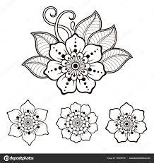 Henna Tetování Květiny šablonu Hranice Mehndi Styl Sada Ozdobných