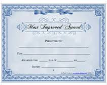 Most Improved Award Certificate Teachers Pets Printable