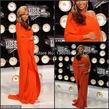 Celebrity Maternity Designers Beyonce Red Carpet A Line One Shoulder Half Sleeve Orange