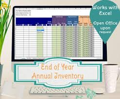 inventory spreadsheet with pictures annual inventory spreadsheet track beginning and ending etsy