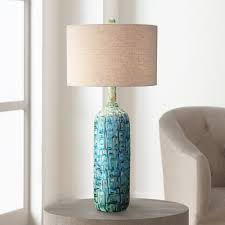 florence glass droplet table lamp in teal with linen shade lamp