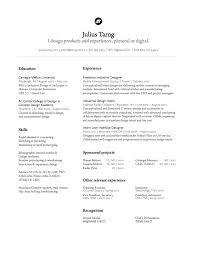 Julius Tarng Industrial Interaction Designer Resume Design