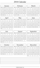 yearly printable calendar 2018 calendar 2018 printable template