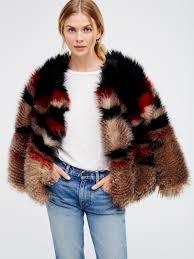 scarlet faux fur jacket