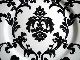 black on white damask exotic wallpaper scroll decorative plate b center