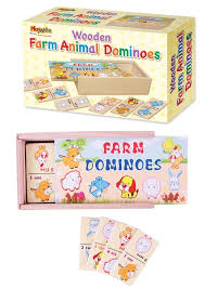 wooden farm animal dominoes in wood box
