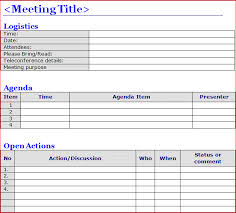 Meeting Templates Word Minutes of Meeting Template Word Projectemplates Excel Project 98