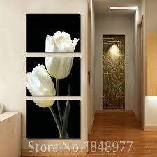 3 pieces beautiful black white tulip flower hd canvas print painting artwork wall art picture canvas on black and white tulip wall art with 3 pieces beautiful black white tulip flower hd canvas print painting