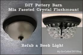 diy pottery barn mia faceted crystal flushmount refab a light