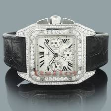 cartier diamond watches for men women custom cartier mens diamond watch 9 64ct santos 100
